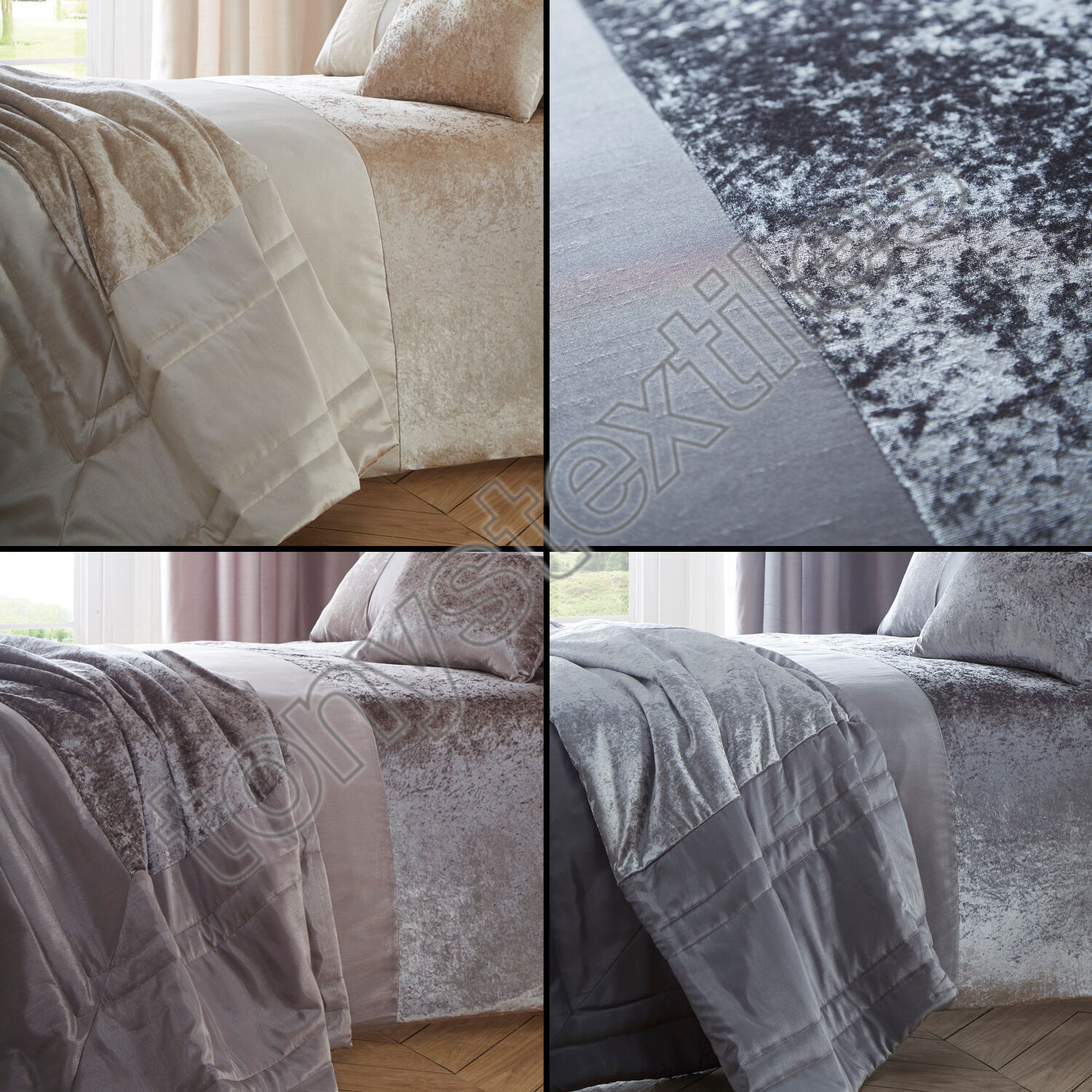 Luxury Crushed Velvet Panel Quilt Duvet Cover Bedding Set ...