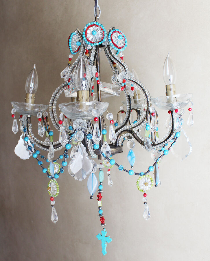Antique Italian One of a Kind- Amazing Beaded Boho Chandelier Chic Bohemian
