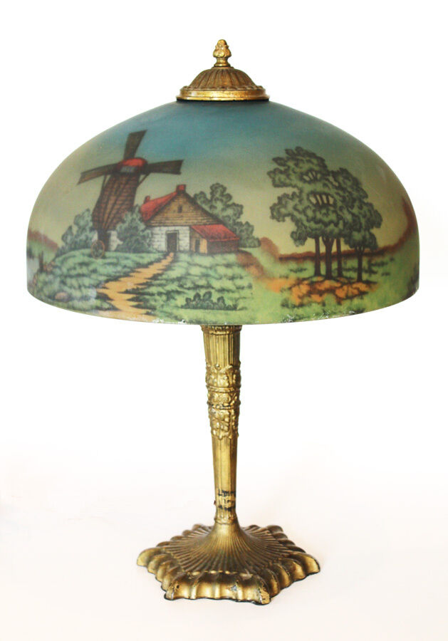 1800s Beautiful Reverse Painted Lamp Scenic Incredible Antique