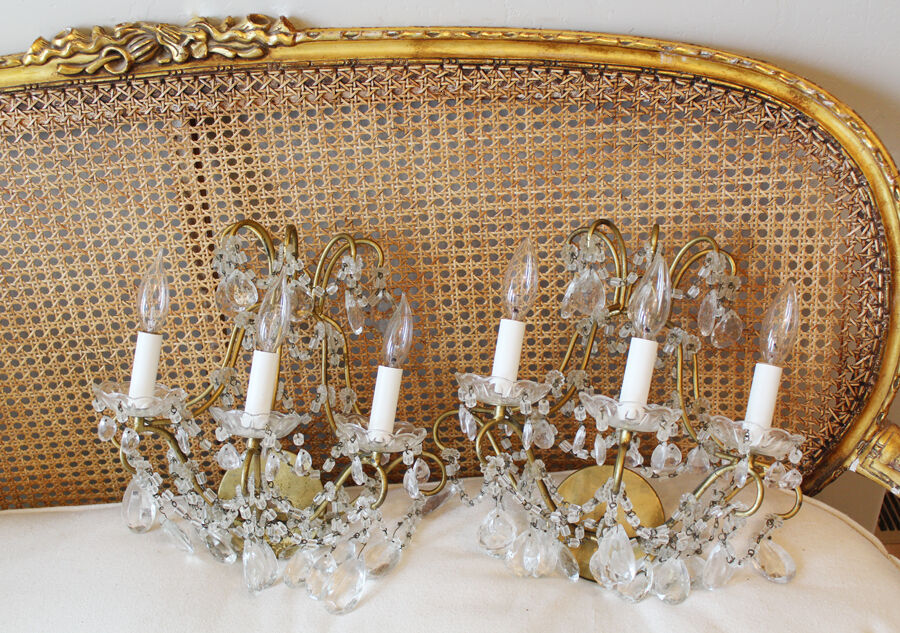 Breathtaking Antique Pair Macaroni 3 Arm Beaded Wall Sconces Early 1920s Lovely