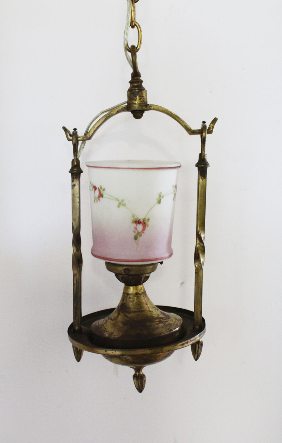 Antique Hand Painted Pink Rose Swags French Parlor Chandelier Gorgeous