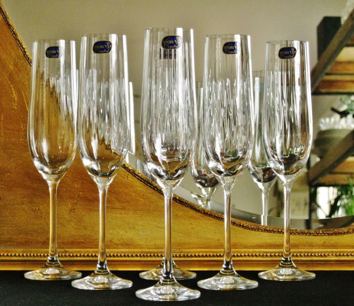Boxed set of 6 Bohemia Crystal Waterfall Champagne flutes. NEW