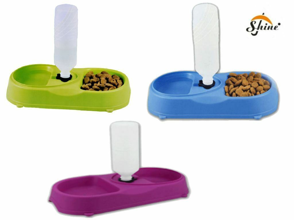 Twin Pet feeder Food Bowl for Cat Dog Rabbit with Water Refill Assorted Colour