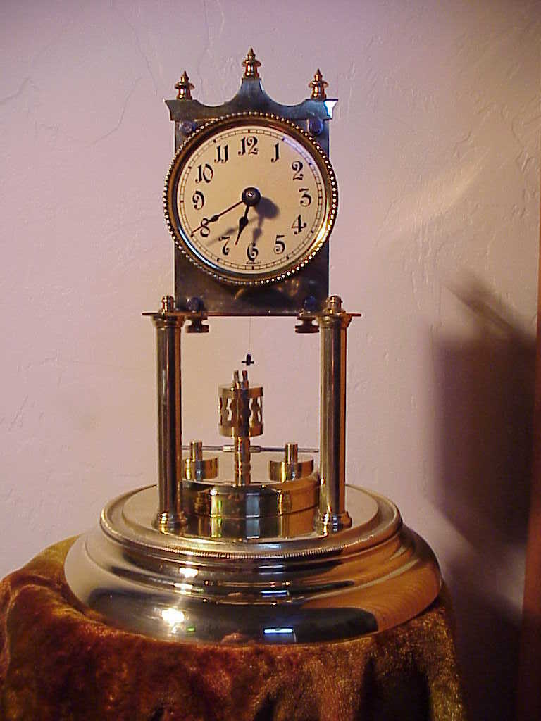 Antique ANDREAS HUBER 400 Day Disc Pendulum Torsion Anniversary Clock Circa 1900