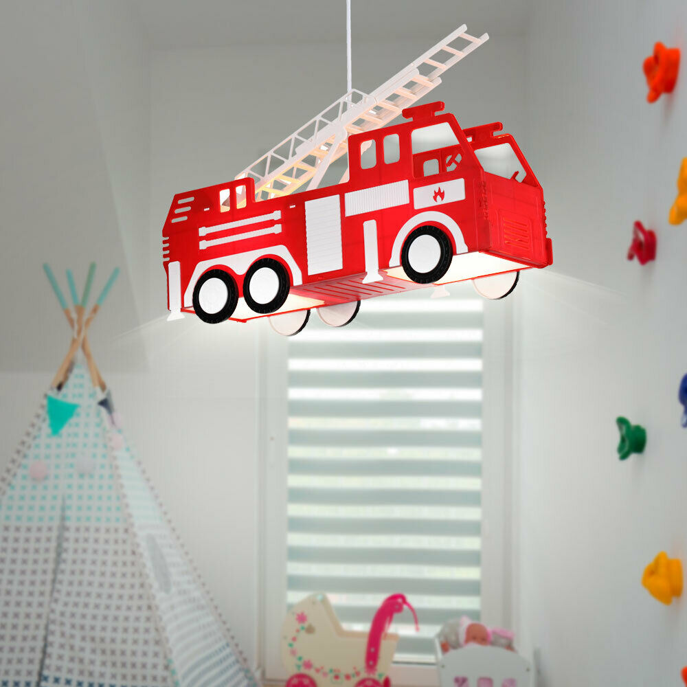led kinder lampe feuerwehr spiel zimmer decken h nge leuchte lxbxh 43x13 5x120cm eur 45 90. Black Bedroom Furniture Sets. Home Design Ideas