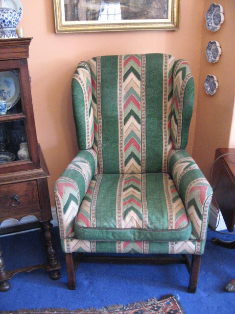 Georgian Style Wing Arm Chair C1930 Large Size Good Upholstery Mahogany  /h101