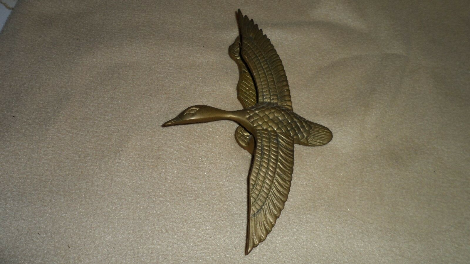 "Vintage Door Knocker Doorknocker 10"" Solid Brass in Flight Bird Mallard Duck"