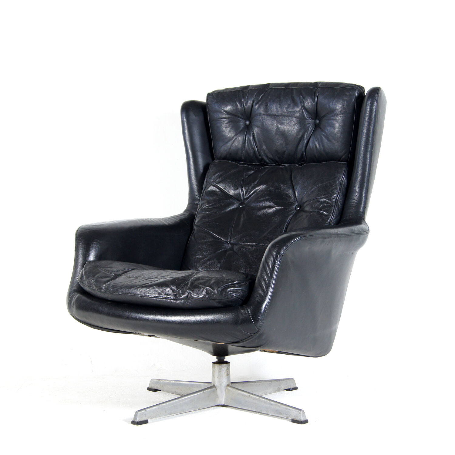 Retro Vintage Danish Swivel Base Leather Black Armchair Lounge Egg Chair 60s 70s