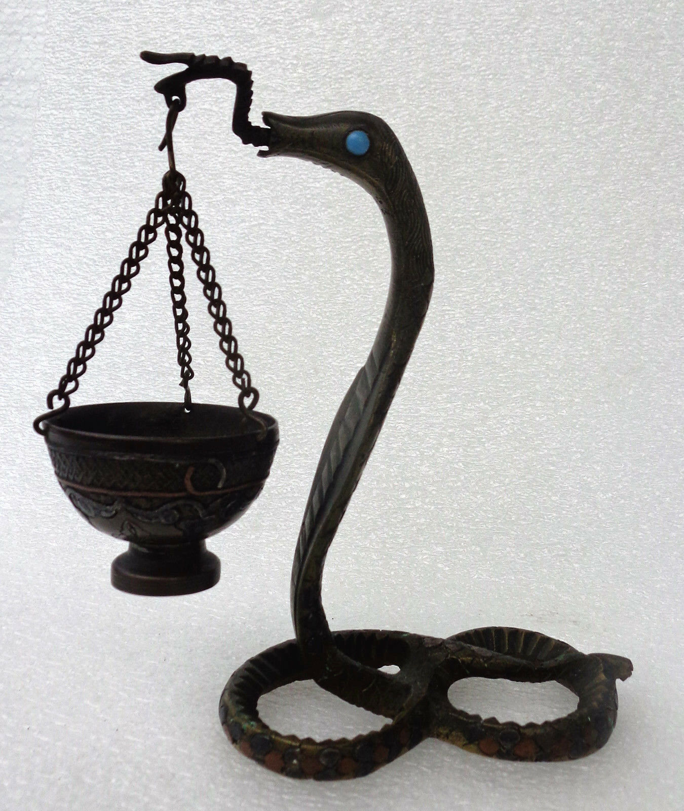 EGYPT: Apep - Very fine and old Egyptian bronze snake with bow - incense burner?