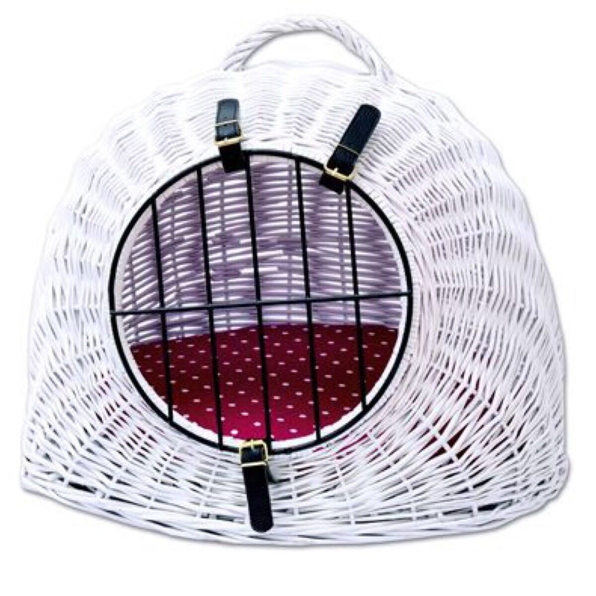 White Wicker Cat Basket Carrier Den Reversible Cushion Removable Locking Door