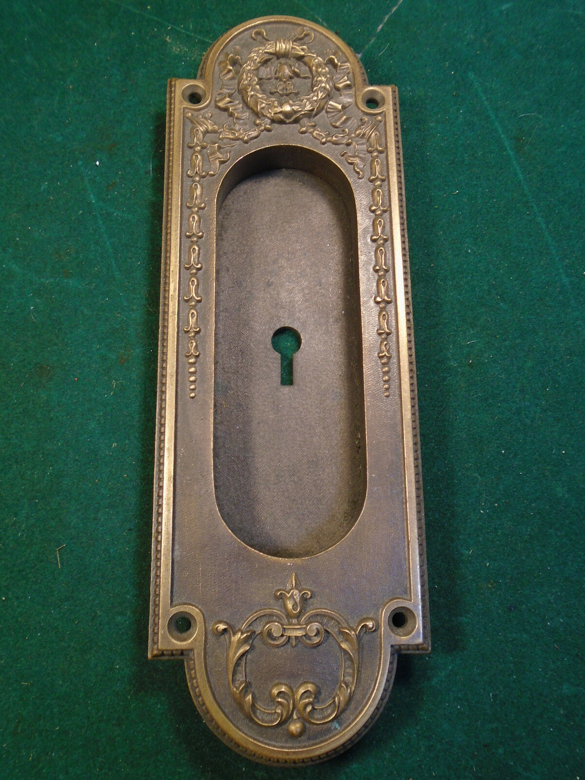 Heavy Yale & Towne Cast Brass Pocket Door Handle/pull - Victorian (6332)