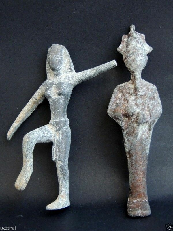 Ancient Egyptian Bronze Statue Of God Osiris and Egyptian Queen Cleopatra Figure