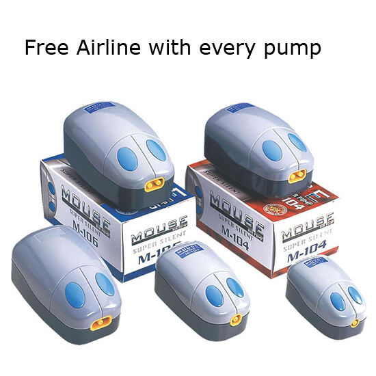 Aquarium Air Pump Fish Tank Single Twin Outlet FREE AIRLINE SUPPLIED Mouse Type