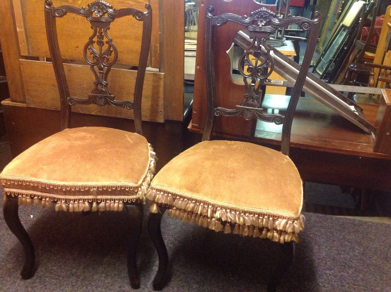 Pair Of Pretty Antique  Salon Chairs Carved Back Draylon Tassels Restoration