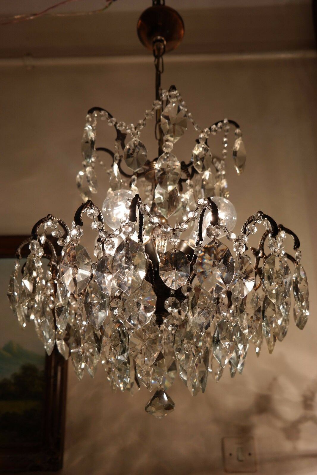 Antique French HUGE SPIDER Style Crystal Chandelier Lamp Light 1940's 18 in