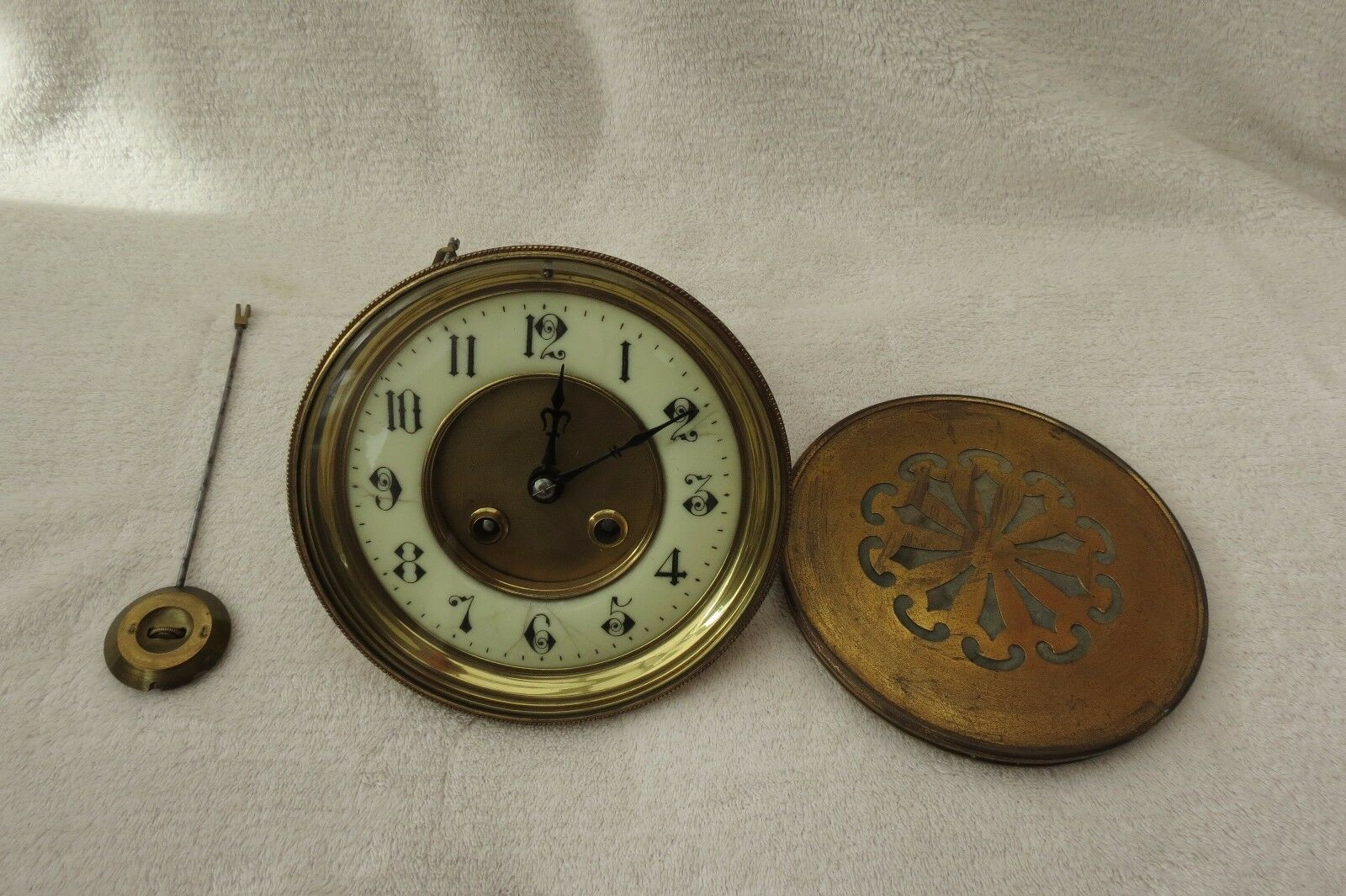 Large Antique French Striking Clock Movement Dial And Hands