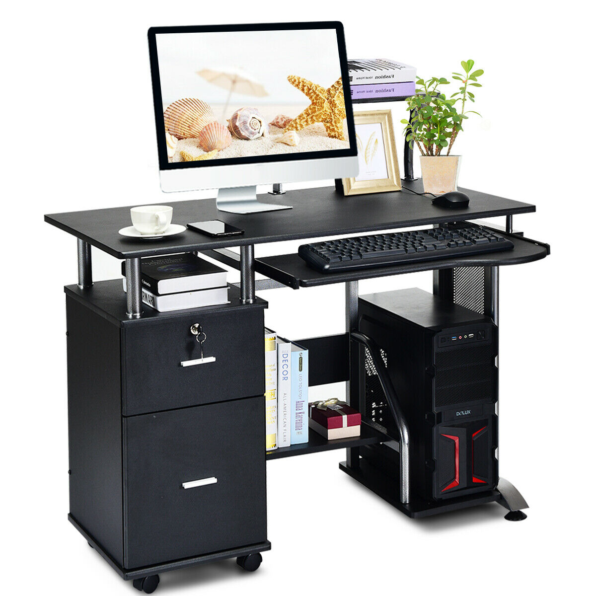 Computer Desk Pc Laptop Table Workstation Home Office Furniture W Printer Shelf 1 Of 11free Shipping