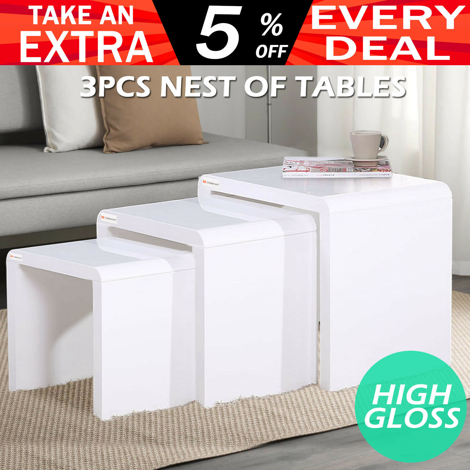 High Gloss 3 Side Nested Of Tables White Set Coffee Table: NEST Of 3 Tables High Gloss Wooden Stackable Side Coffee
