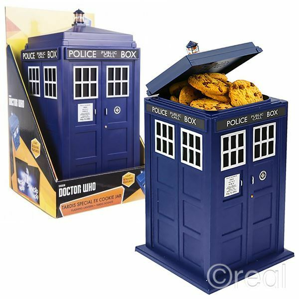New doctor who tardis cookie jar biscuit tin w lights sounds kitchen official - Tardis cookie jar ...
