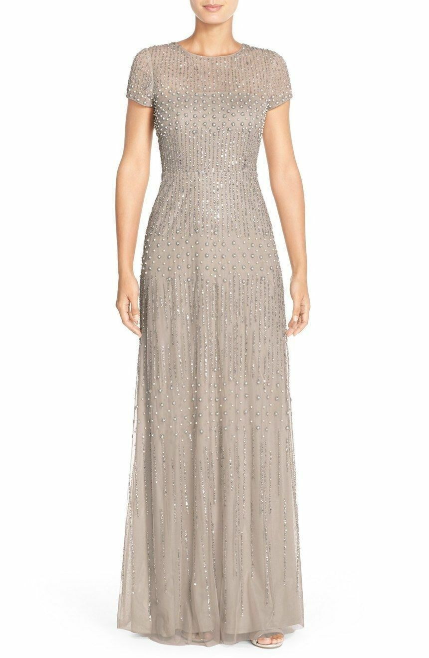 $369 NWT ADRIANNA Papell Embellished Mesh Gown Pearl Bronze 2, 8, 14 ...