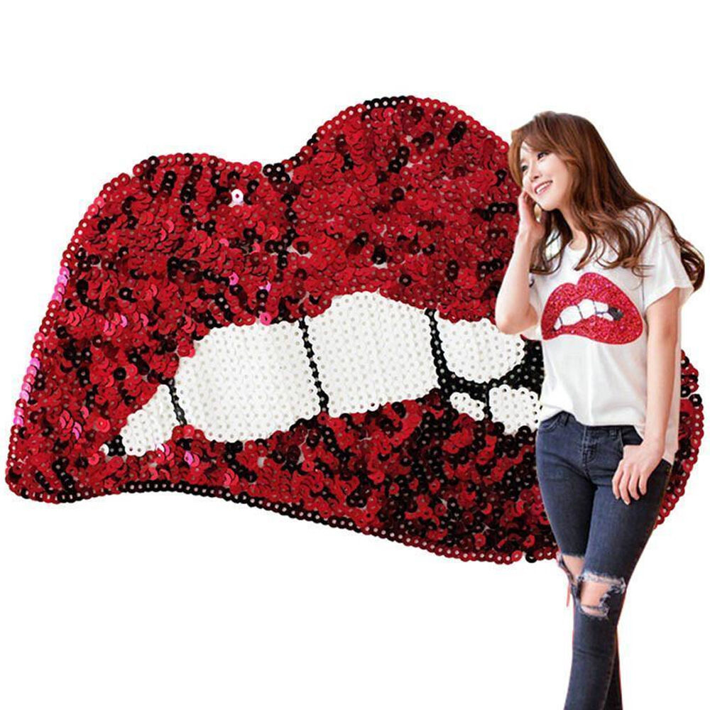 1 of 11FREE Shipping Large Sequins Red Lips Embroidered Iron On Patches DIY Motif Clothing Applique