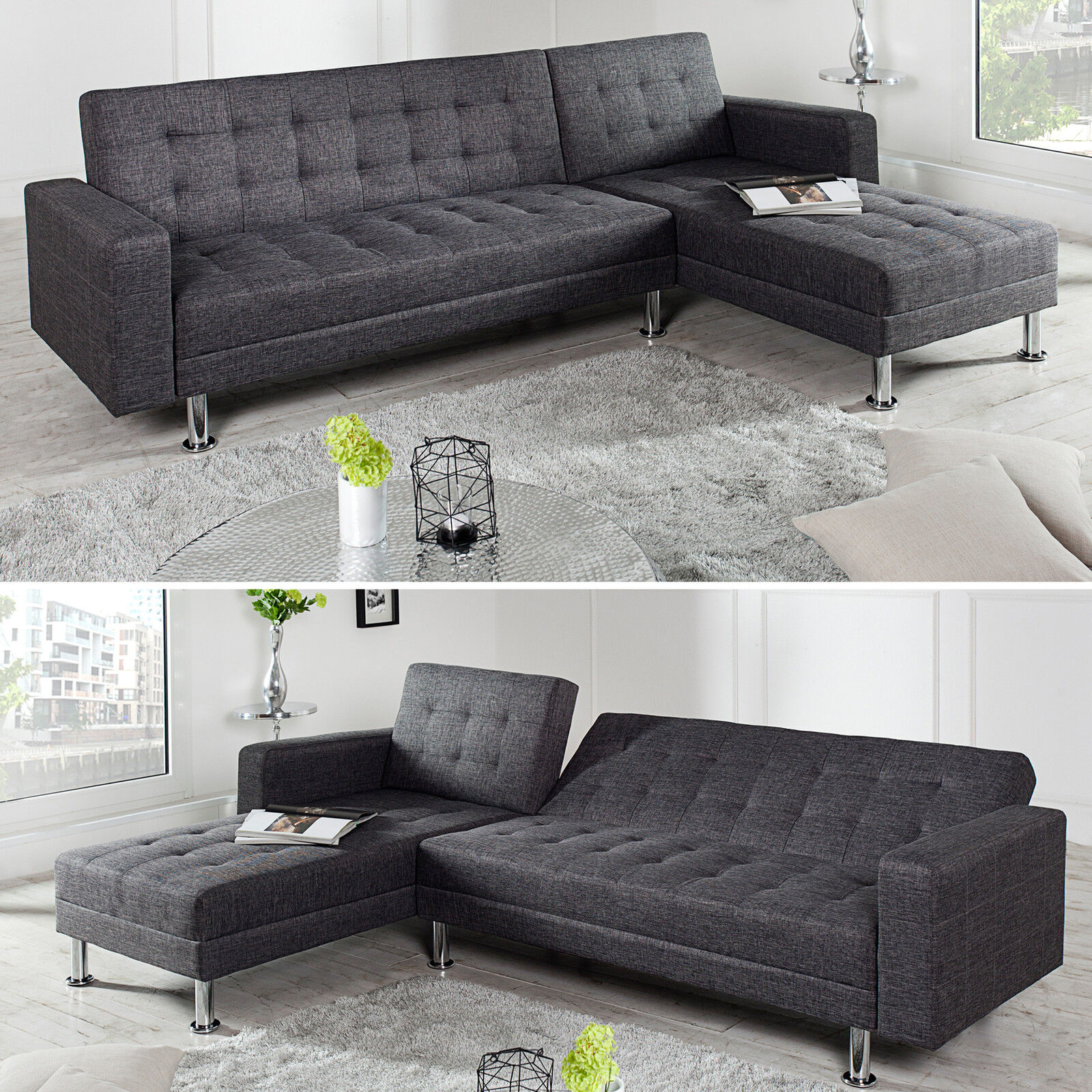 ecksofa chaise lounge mit schlaffunktion farbwahl beidseitig aufbaubar couch eur 389 95. Black Bedroom Furniture Sets. Home Design Ideas