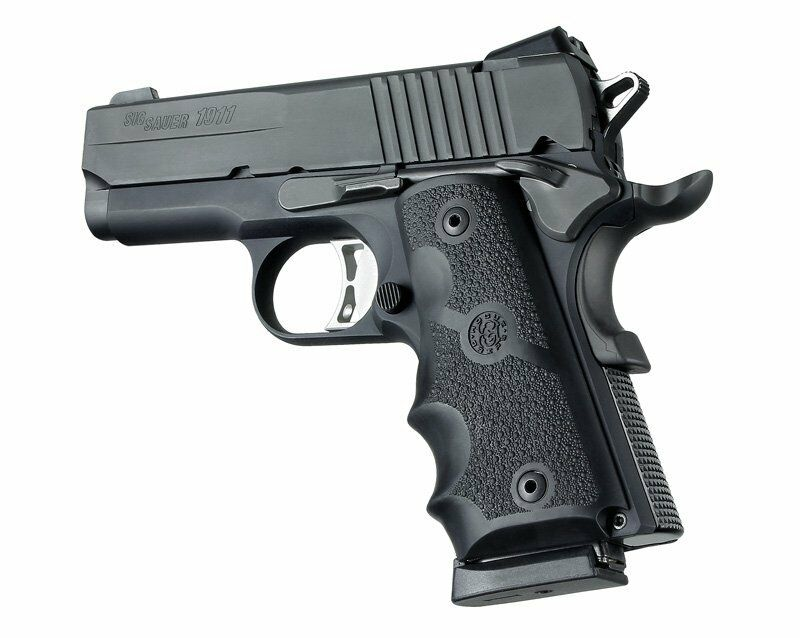 HOGUE GRIP FOR 1911 Officers - Wrap Around Finger Groove Black 43000 ...