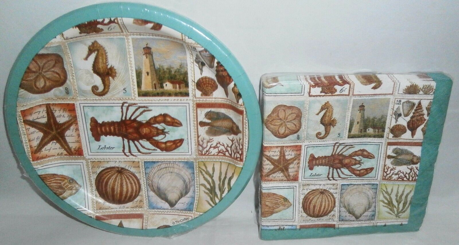 1 of 1Only 1 available ... & COASTAL PAPER PLATES u0026 Cocktail Napkins SEASHORE COLLAGE - $7.50 ...