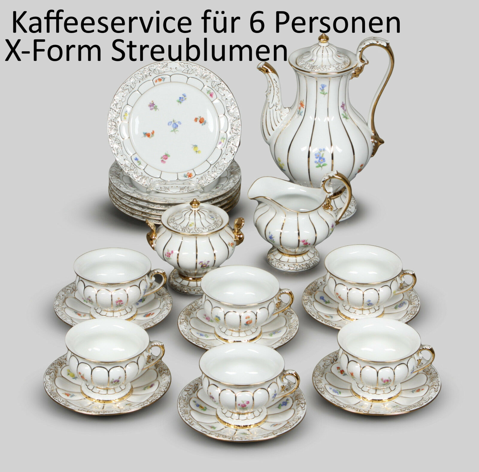 kaffeeservice x form streublumen f r 6 personen 21tlg meissen 2 wahl top eur. Black Bedroom Furniture Sets. Home Design Ideas