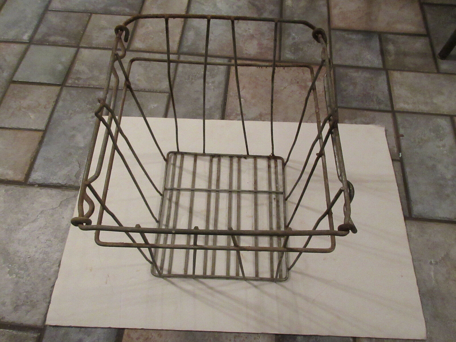 WIRE BASKET LARGE Industrial Vintage With Handles Large Square Metal ...