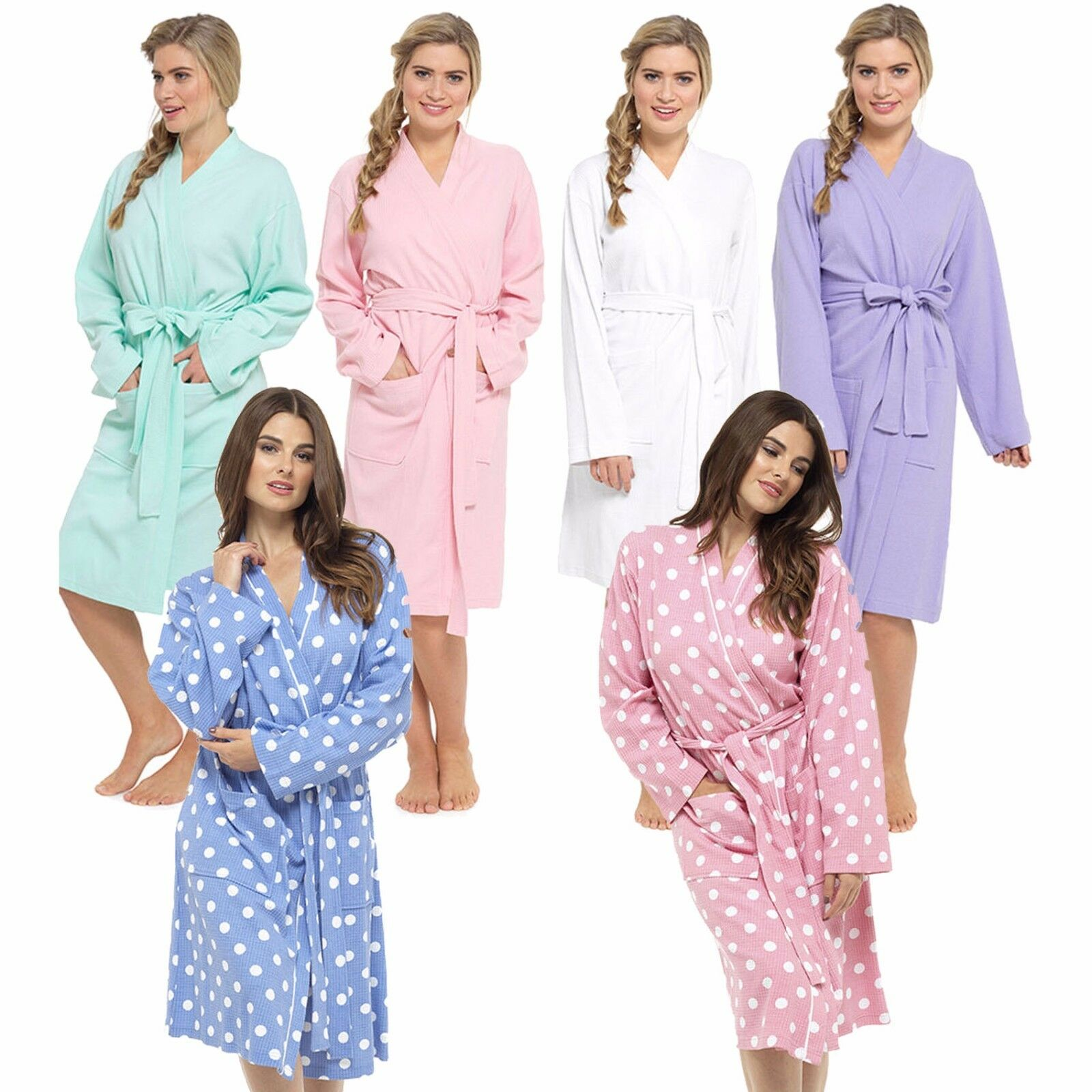 LADIES PURE COTTON WAFFLE SUMMER DRESSING GOWN ROBE Sizes Sml Med ...