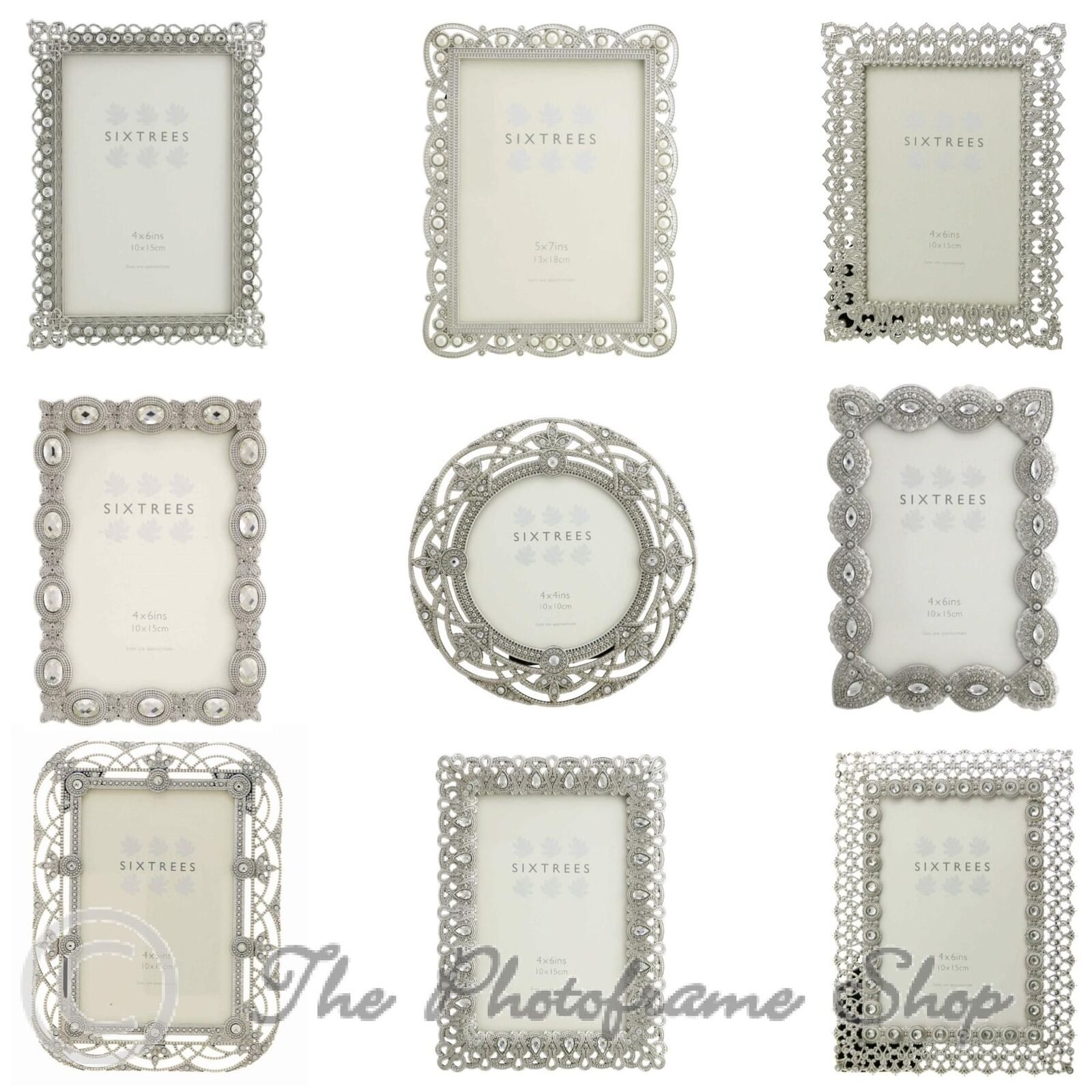VINTAGE ORNATE SILVER photo frames beads & crystals 4x4, 6x4, 7x5 ...
