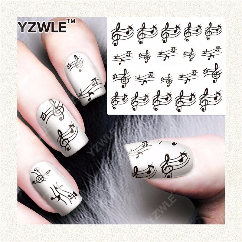 NAIL ART WATER Decals Stickers Black Sheet Music Musical Notes Piano ...