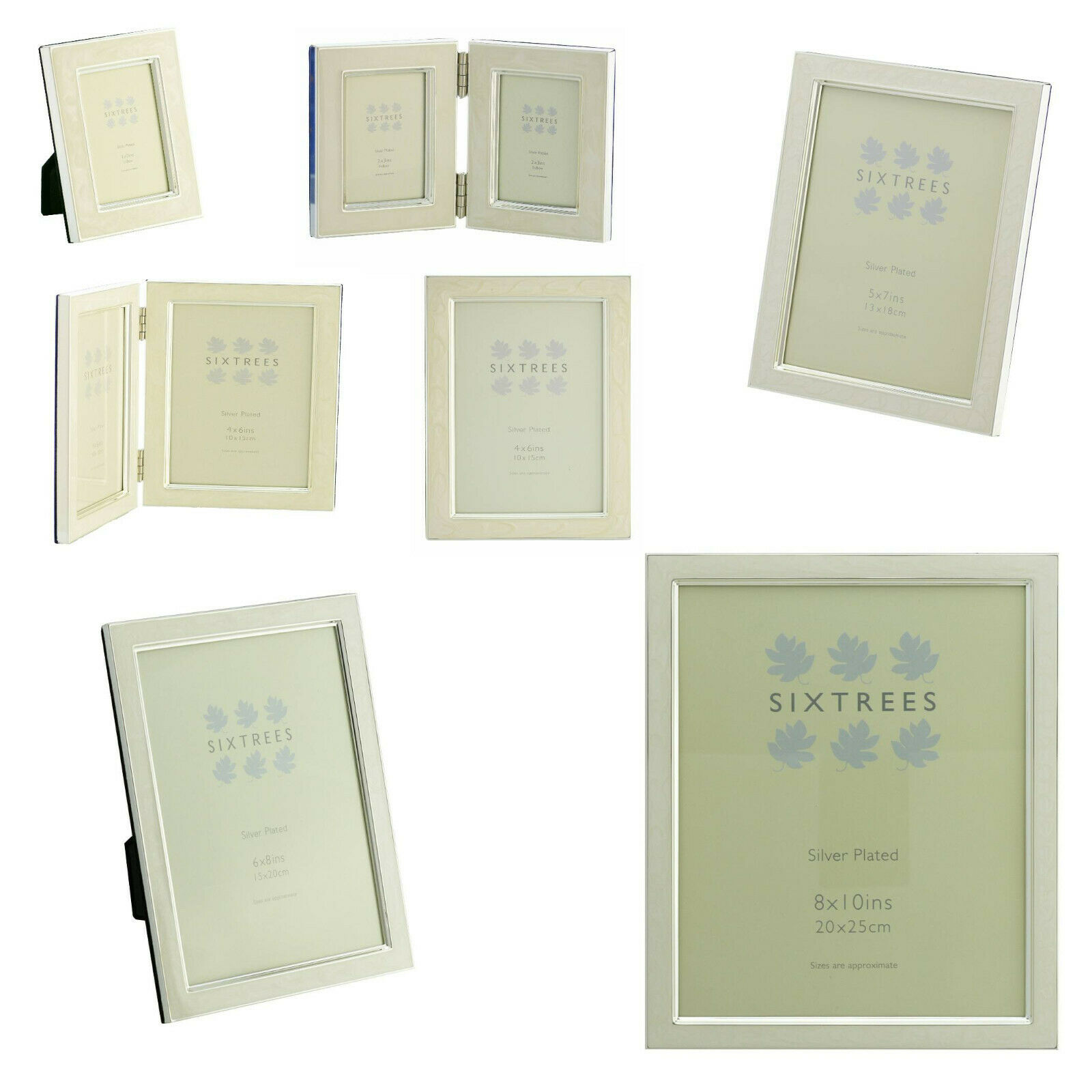 MULTIPACK SIXTREES Zurich White Enamel & Silver Plate Photo Frames 3 ...