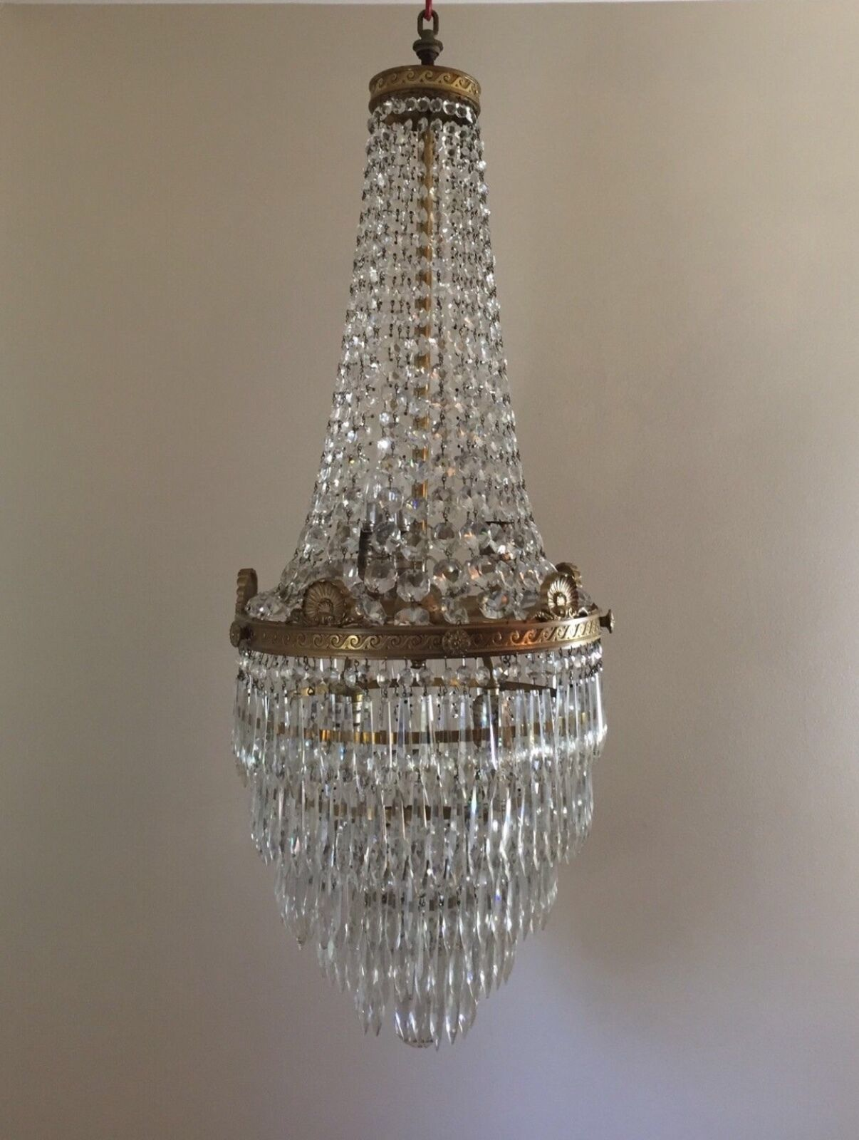 1 of 5FREE Shipping Antique French Empire Brass Beaded Basket Crystal  Chandelier Wedding Cake - ANTIQUE FRENCH EMPIRE Brass Beaded Basket Crystal Chandelier Wedding