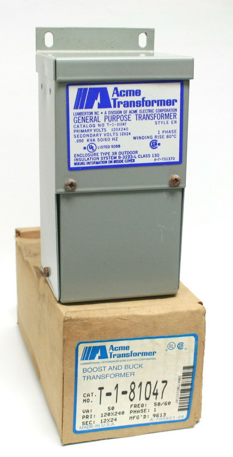 Acme Transformer T 1 81047 Boost And Buck 50va Prim 120x240v Sec Single Phase Wiring Diagrams 12x24v 1ph Of 9only 3 Available