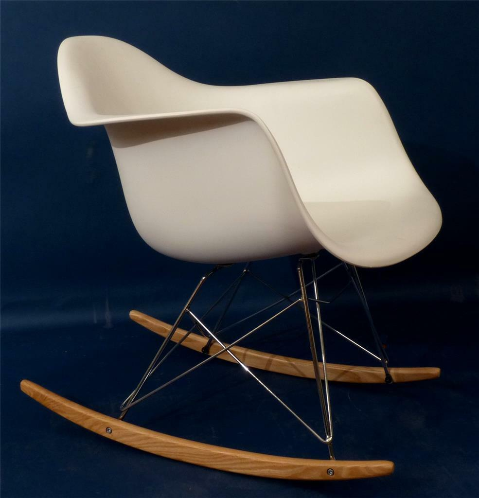 eames style fiberglass rocking chair white nice cad picclick ca. Black Bedroom Furniture Sets. Home Design Ideas
