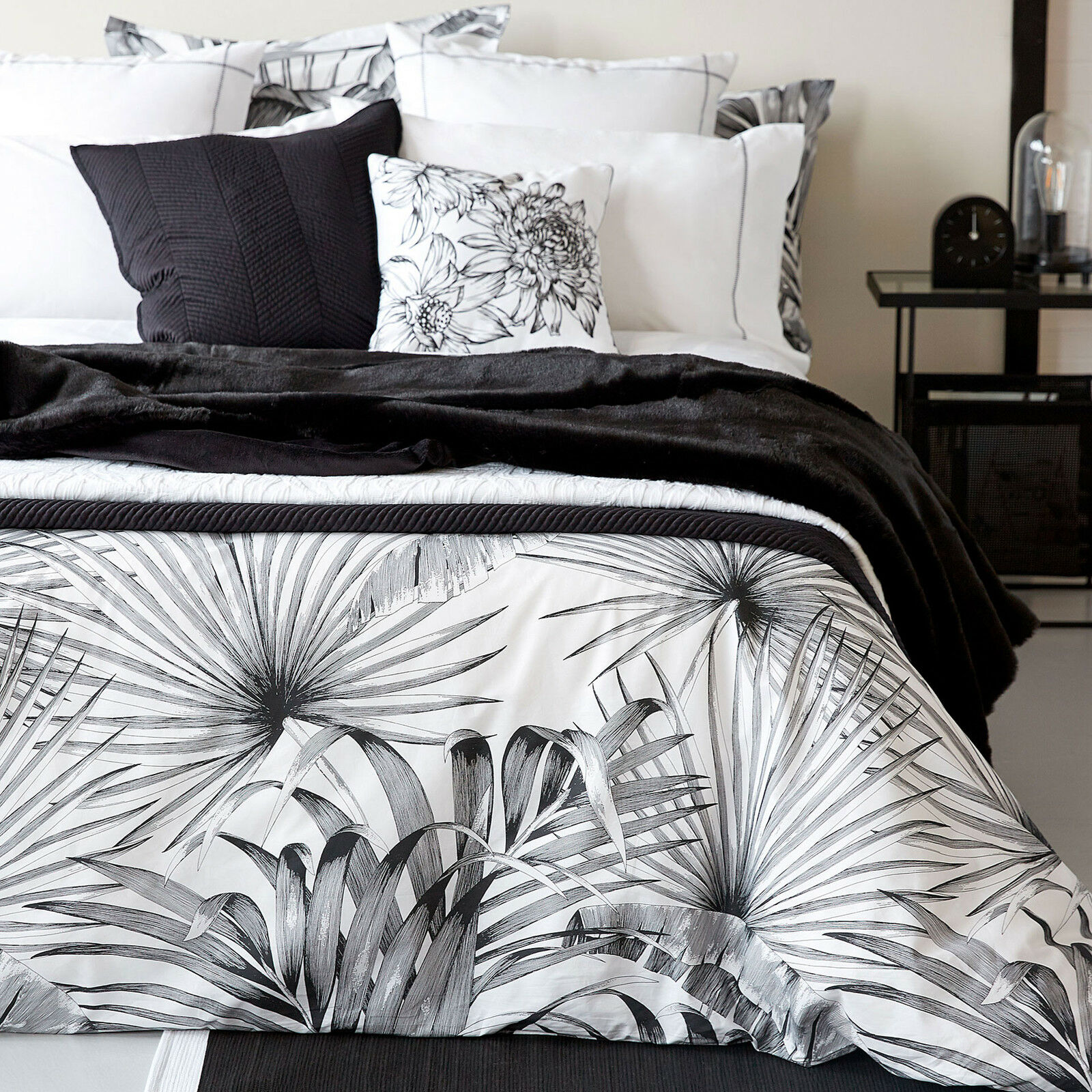 Zara Home Black White Palm Print Cotton King Size Duvet Cover Eur 79 94 Picclick Es