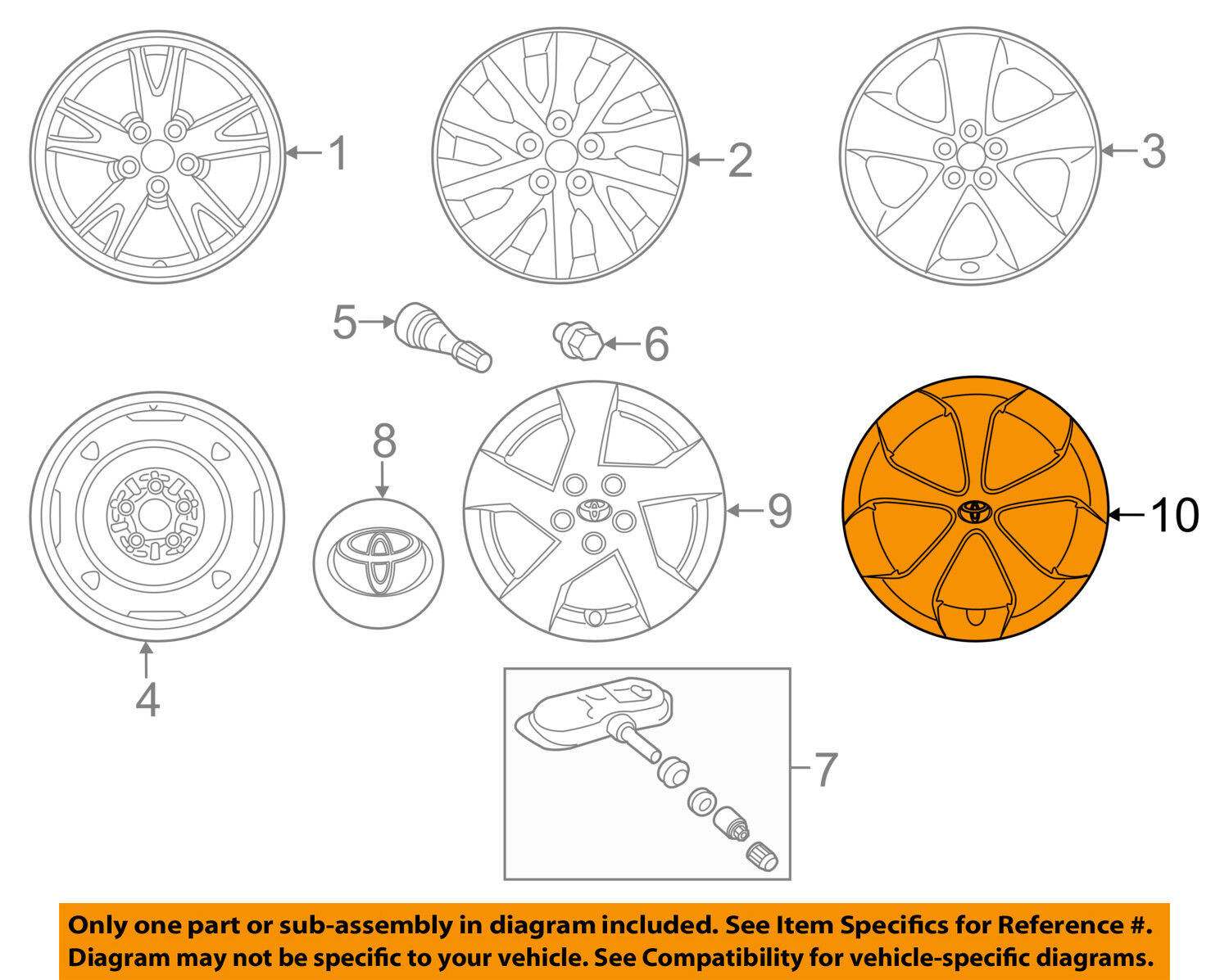 Toyota Oem 4260247060 12 13 Prius Wheel Cover Hub Cap 42602 47060 Diagram 1 Of 2only 4 Available