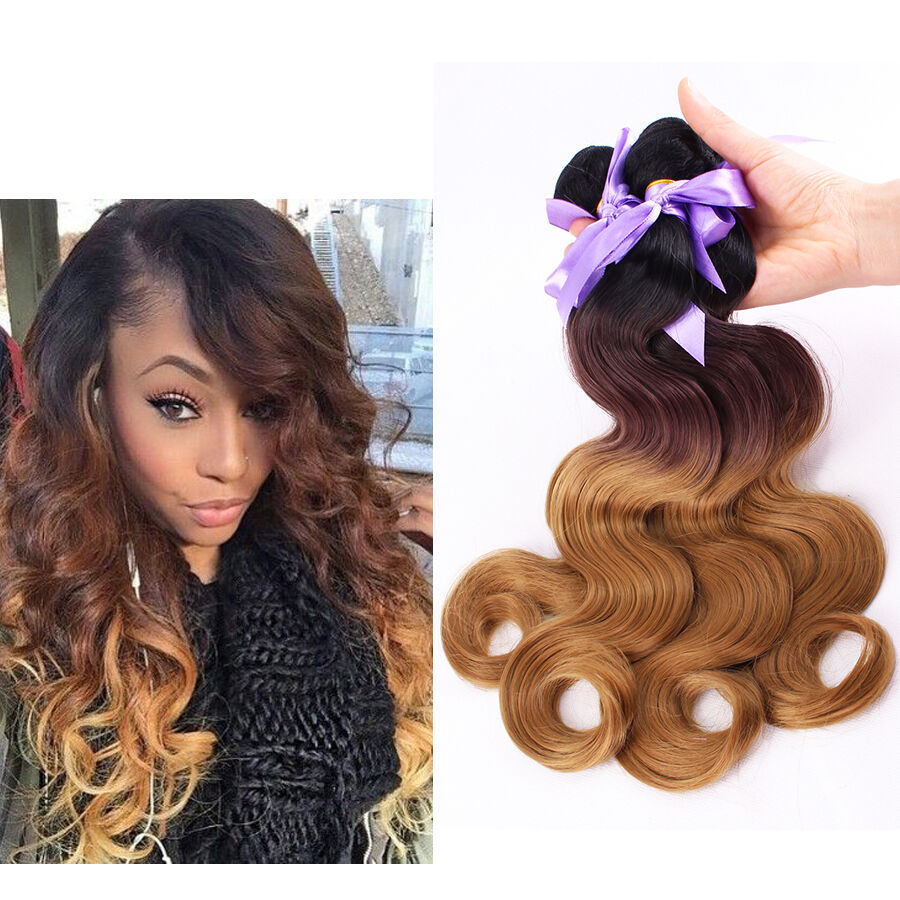 1pcs 70g Hair Weft Ombre Hair Weave Bundles Body Wave Synthetic Hair