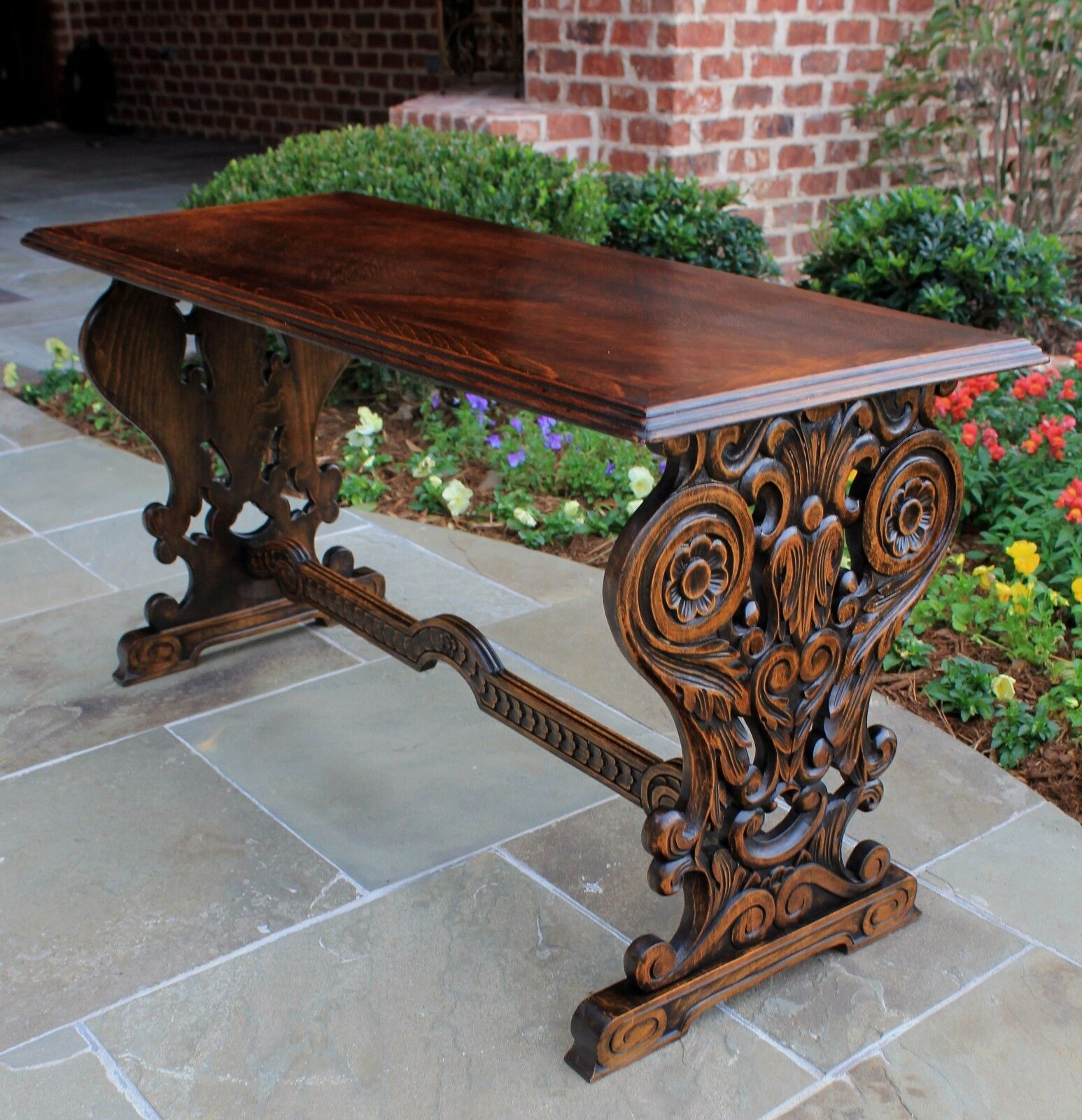 Antique French Oak Trestle Table Gothic Style Coffee Table Bench Seating Wide Picclick