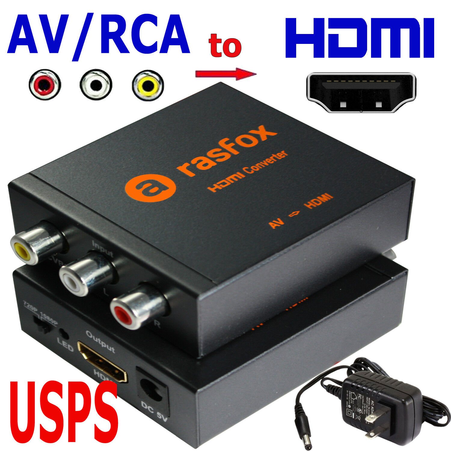 Powered Av Rca To Hdmi Converter Box Composite Cvbs Adapter 1080p Conventer Or 720p Upscaler 1 Of 1free Shipping
