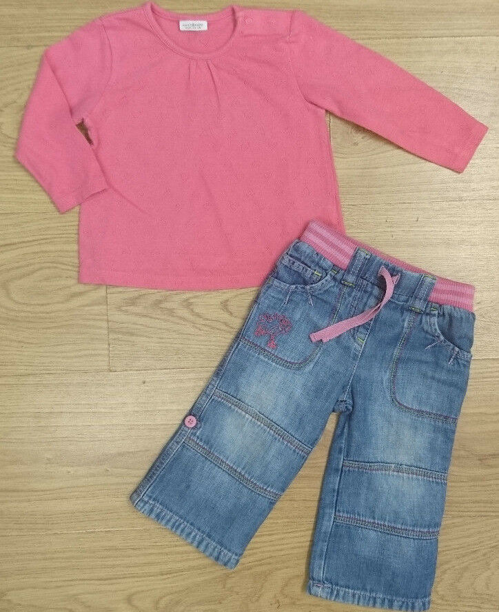 NEXT BABY GIRLS OUTFIT BUNDLE 0-3 months top jeans pink ...