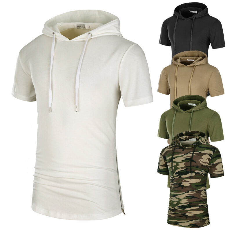New men 39 s casual hoodie t shirt fashion camo color t shirt for Mens pullover shirts short sleeve