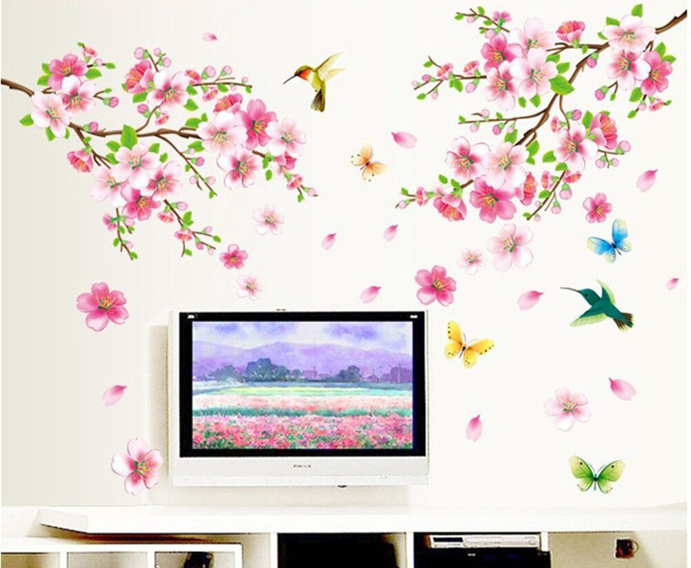 Birds Flowers Removable Wall Stickers Decal Art Vinyl ...