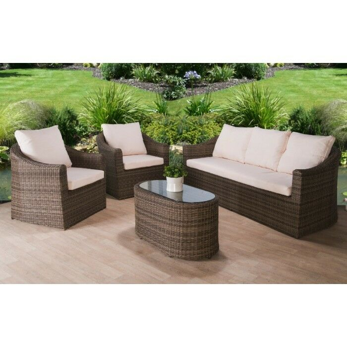 Rattan garden furniture set 5 seater chairs sofa table for Bamboo furniture uk
