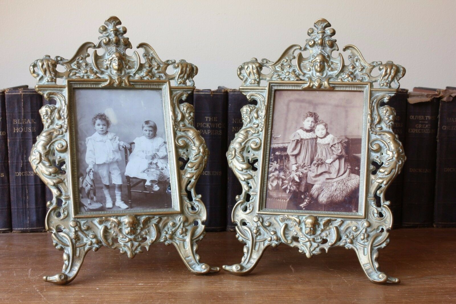Antique pair of brass rococo style ornate photo picture for Rococo style frame