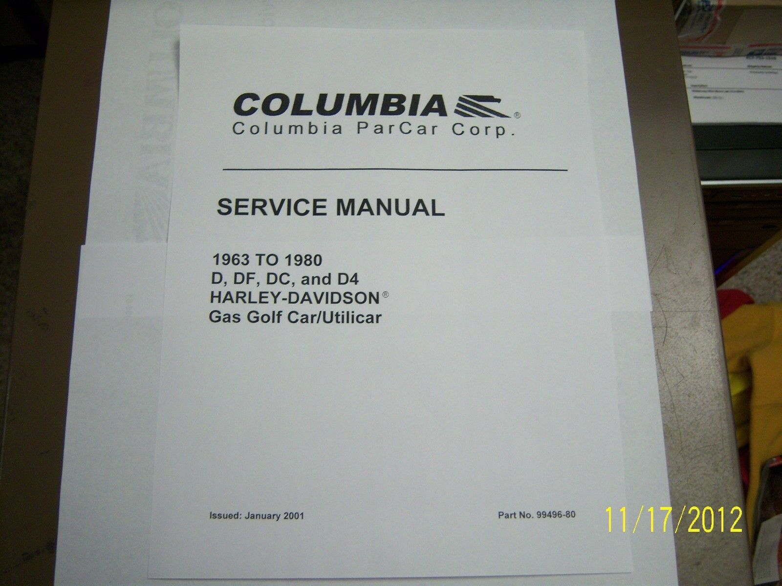 Harley Davidson Gas Golf Cart Service Repair Parts Manual 1963 Engine Diagram 1980 On Disc 1 Of 1free Shipping