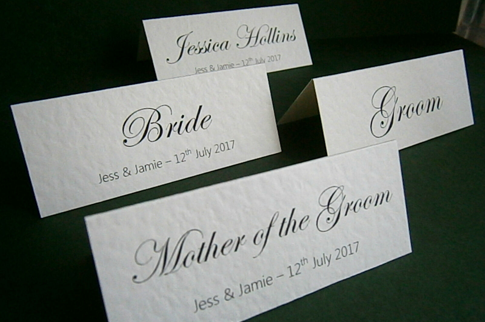 1 50 personalised wedding place name cards white or for Place card for wedding