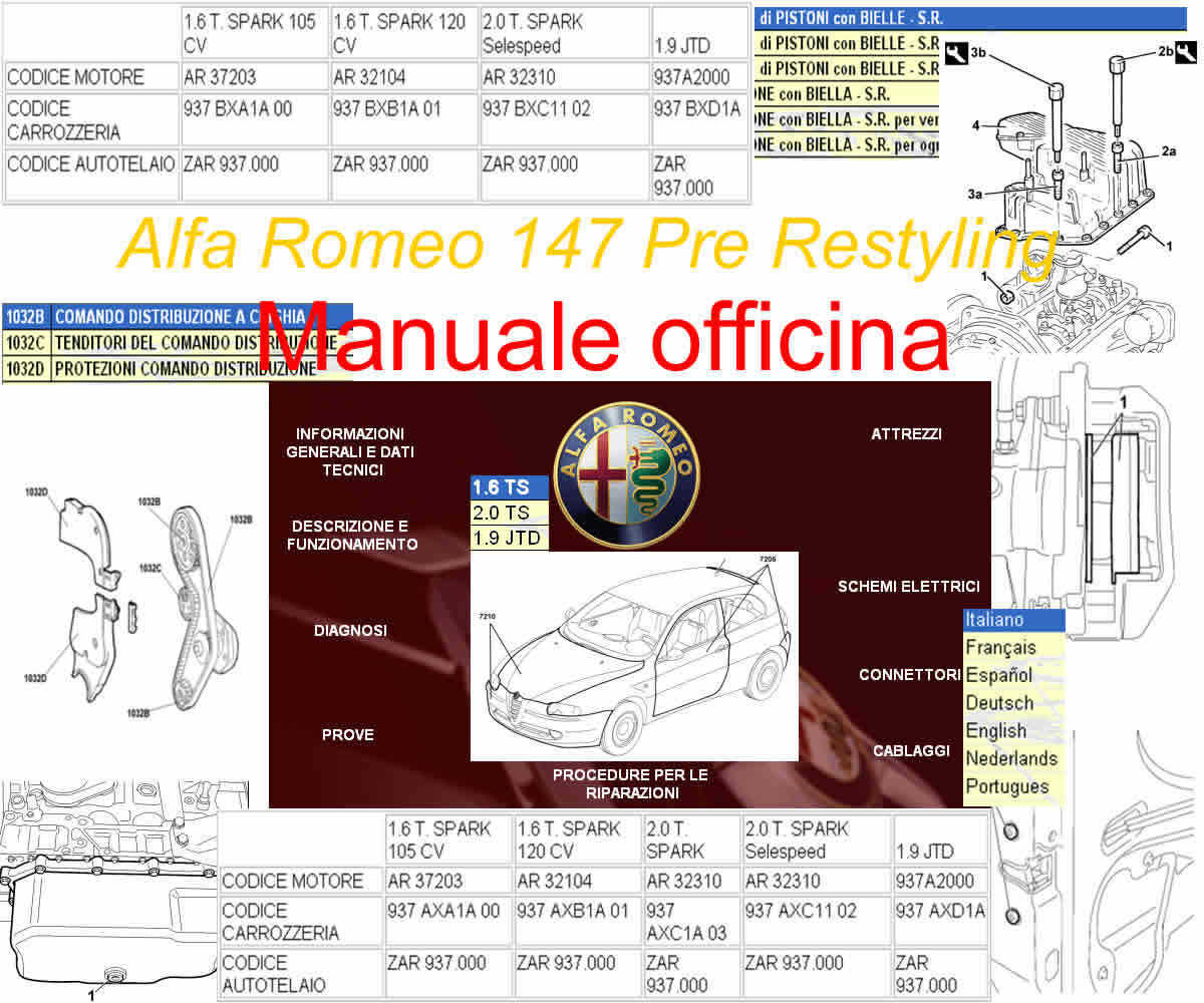 manuale d 39 officina manutenzione riparazione alfa romeo 147. Black Bedroom Furniture Sets. Home Design Ideas